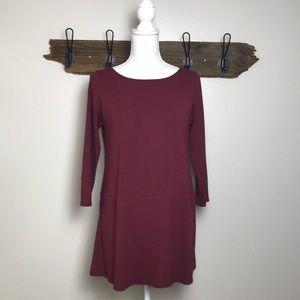 Eileen Fisher Tunic Knit Tiered Burgundy EUC